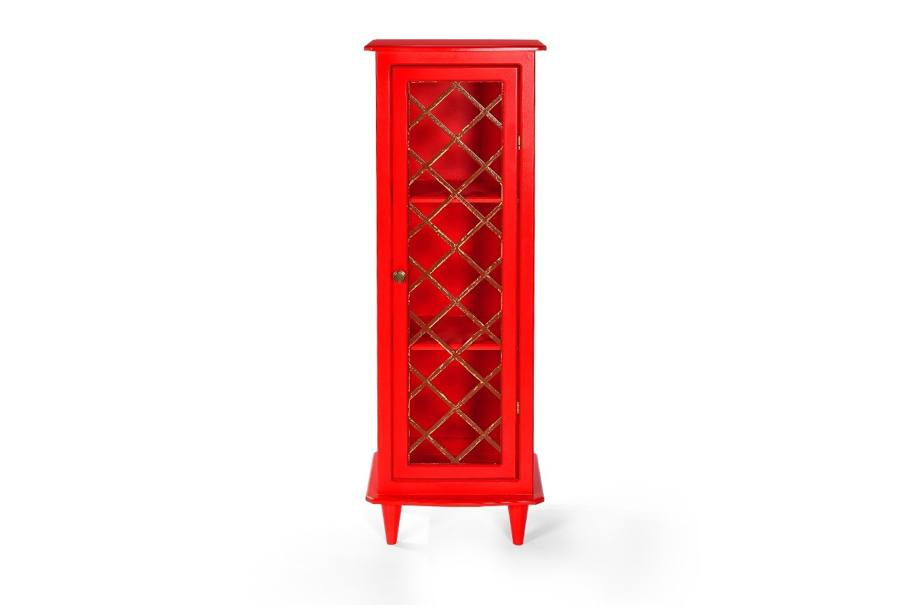 Armário Vintage Vermelho Aprimore Móveis e Decoração #BB1011 1300x863 Armario Banheiro Retro