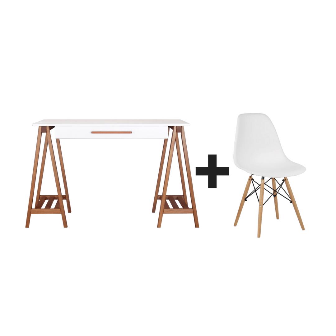 Escrivaninha Cavalete + Cadeira Charles Eames