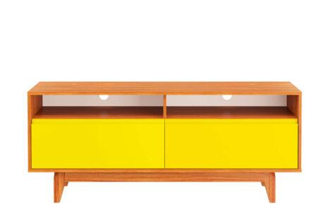 Rack Jatobá 2 gavetas Amarelo