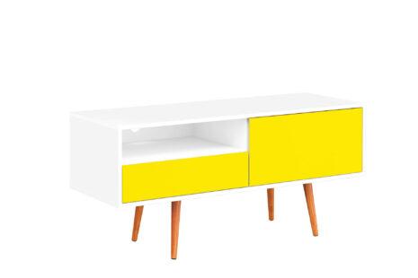 Rack Retrô com porta e gaveta Amarelo