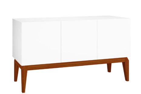 Buffet Equilíbrio 3 Portas 136 cm – Branco c/ Base de Madeira