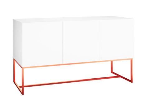 Buffet Equilíbrio 3 Portas 136 cm – Branco c/ Base Metálica