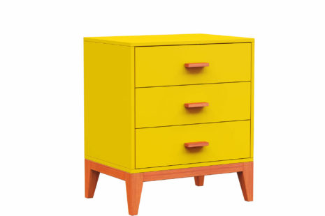 Criado-Mudo Jatobá 3 Gavetas Amarelo