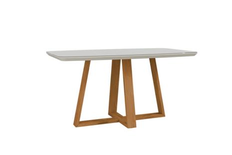 Mesa de Jantar Bennett c/ Vidro 160 cm – Off-White c/ Cinamomo