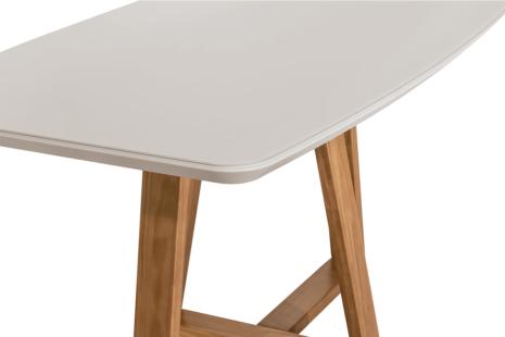 Mesa de Jantar Bennett c/ Vidro 180 cm – Off-White c/ Cinamomo
