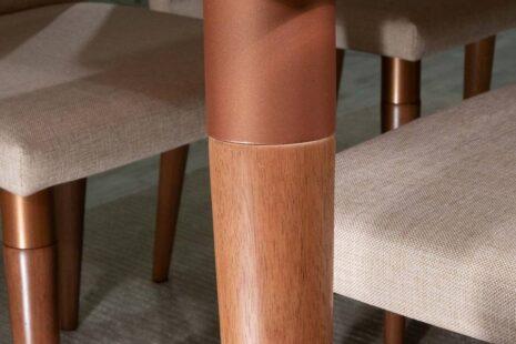 Mesa de Jantar Liv 160 com Off-White com Vidro