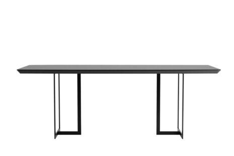 Mesa de Jantar Iron 219 cm Preto Fosco com Vidro