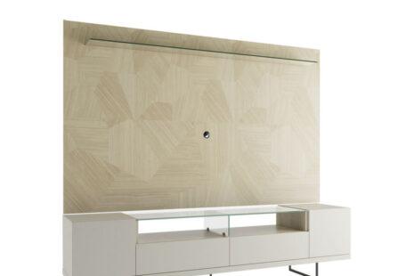 Rack Iron com painel de TV 217 cm  Artesanal c/ Off-White Fosco