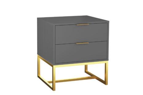 Mesa de Cabeceira 2 gavetas Iron Espresso e Dourado