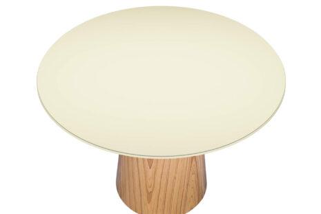 Mesa de Jantar Cone Redonda 120 cm – Com Vidro Laqueado