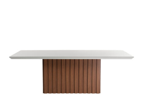Mesa de Jantar Lucerna Off-White e Natural com Vidro